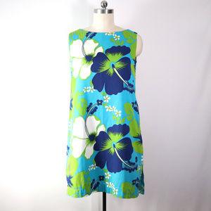 vintage 60s hawaiian hibiscus print shift dress XL
